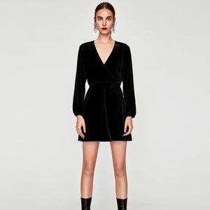 Zara Black Velvet Wrap mini Dress Size S